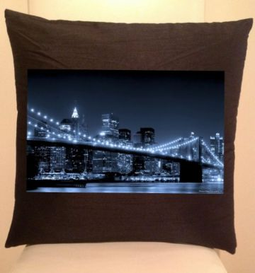 New York Brooklyn bridge at night Cushion / Sofa Cushions (V3)